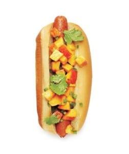 peach salsa dog