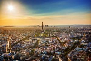 Paris, France at sunset. Aerial view on landmarks